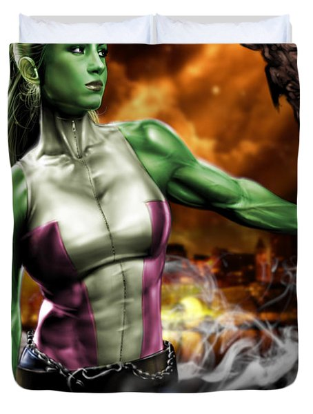 She-Hulk Duvet Cover by Pete Tapang