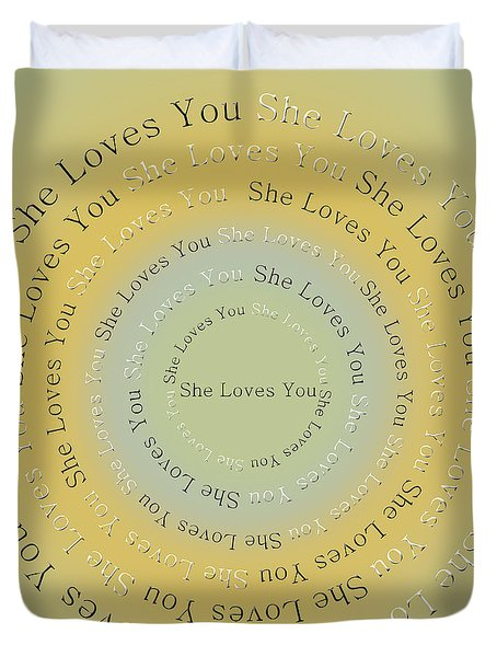 She Loves You 4 Duvet Cover by Andee Design
