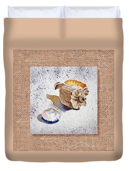 She Sells Sea Shells Decorative Collage Duvet Cover by Irina Sztukowski