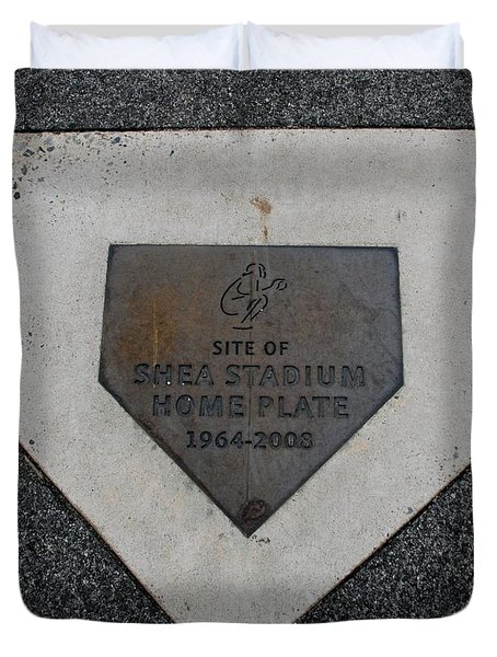 Shea Stadium Home Plate Duvet Cover by Rob Hans