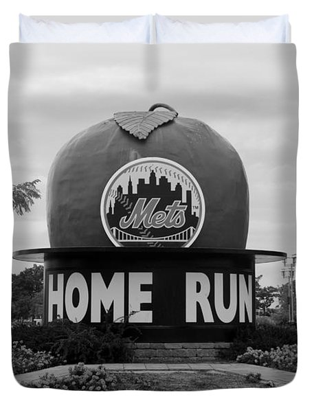 SHEA STADIUM HOME RUN APPLE in BLACK AND WHITE Duvet Cover by ROB HANS