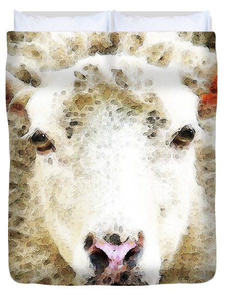 Sheep Art - White Sheep Duvet Cover by Sharon Cummings