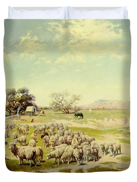 Sheepherding Montana Duvet Cover by Olaf Seltzer