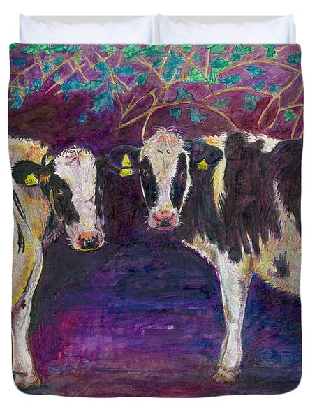 Sheltering Cows Duvet Cover by Helen White