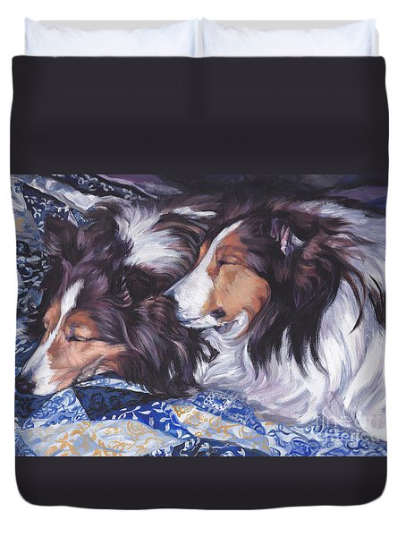 Sheltie Love Duvet Cover by Lee Ann Shepard