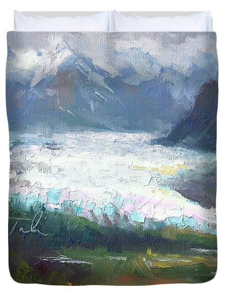 Shifting Light - Matanuska Glacier Duvet Cover by Talya Johnson