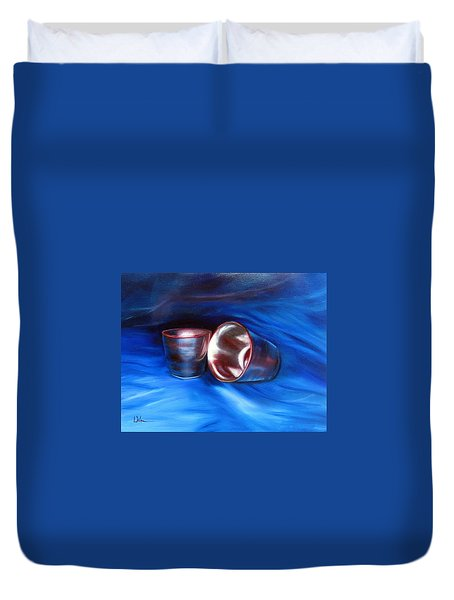 Shiny Metal Cups Study Duvet Cover by LaVonne Hand
