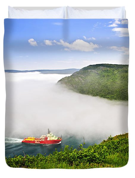 Ship Entering The Narrows Of St John's Duvet Cover by Elena Elisseeva