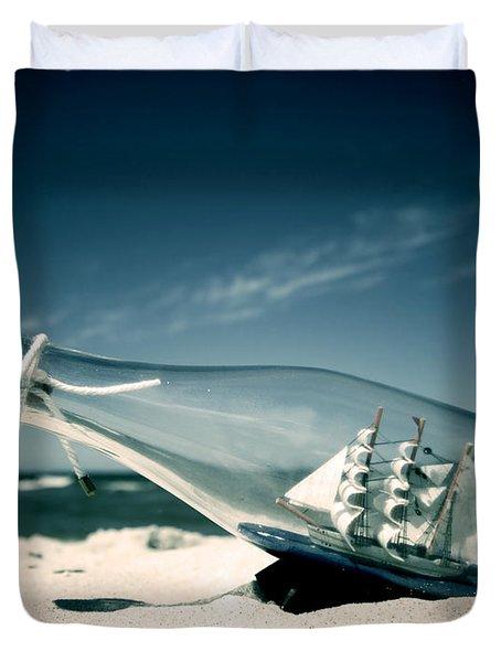 Ship In The Bottle Duvet Cover by Michal Bednarek