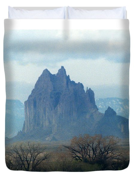 Shiprock  Mystical Mountain New Mexico Duvet Cover by Jack Pumphrey