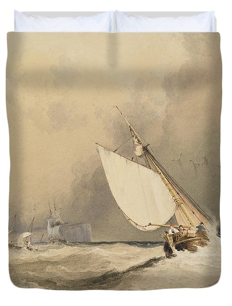 Ships At Sea Off Folkestone Harbour Storm Approaching Duvet Cover by Anthony Vandyke Copley Fielding