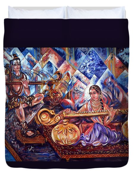 Shiva Parvati Duvet Cover by Harsh Malik