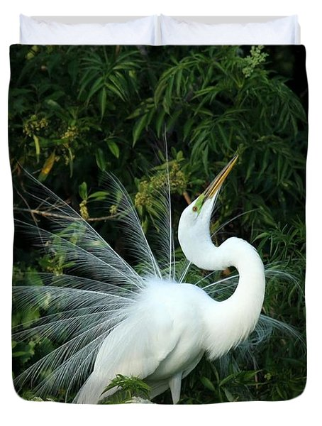Showy Great White Egret Duvet Cover by Sabrina L Ryan