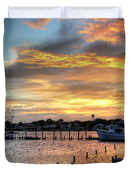 Shrimp Boats At Sunset Duvet Cover by Benanne Stiens