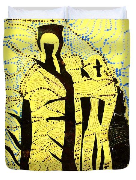 Shroud Of Jesus Duvet Cover by Gloria Ssali
