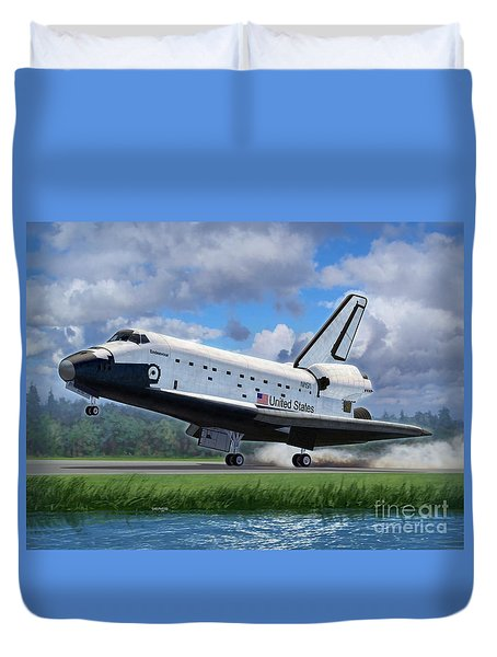 Shuttle Endeavour Touchdown Duvet Cover by Stu Shepherd