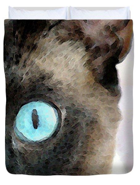 Siamese Cat Art - Half The Story Duvet Cover by Sharon Cummings