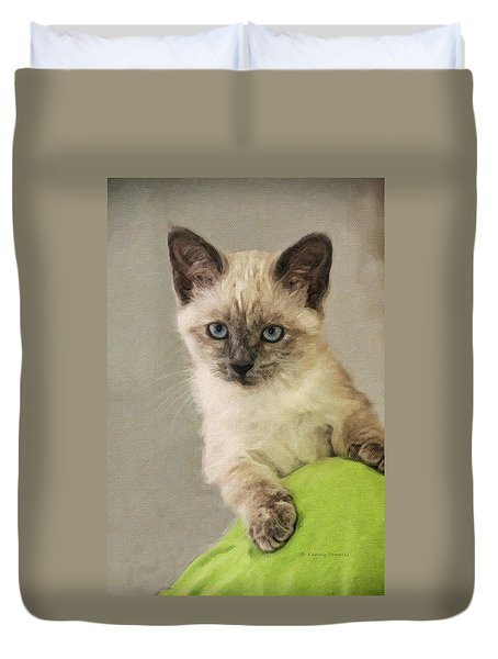 Siamese Kitten Duvet Cover by Kenny Francis