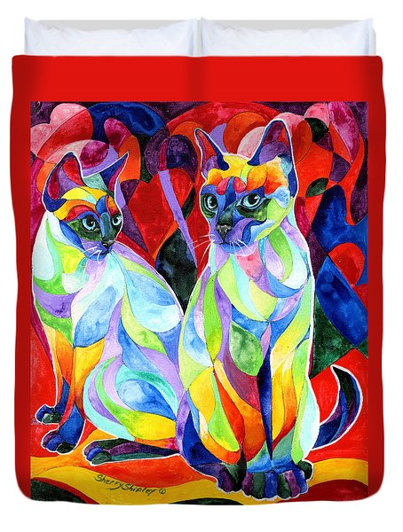 Siamese Sweethearts Duvet Cover by Sherry Shipley