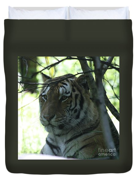 Siberian Tiger Profile Duvet Cover by John Telfer
