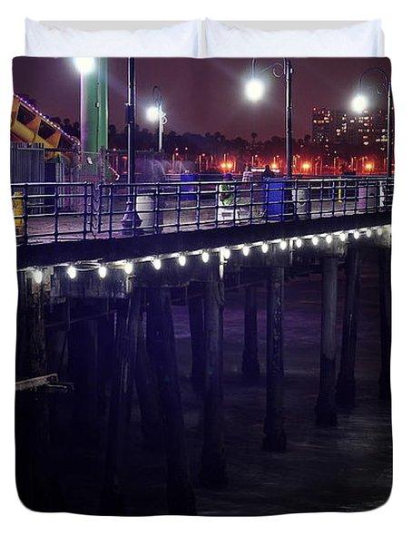 Side Of The Pier - Santa Monica Duvet Cover by Gandz Photography