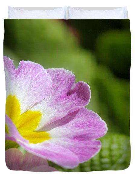 Side View Of A Spring Pansy Duvet Cover by Jeff Swan