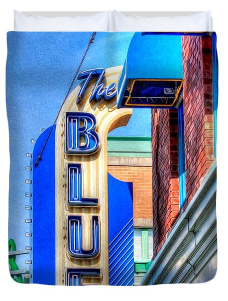 Sign - The Blue Room - Jazz District Duvet Cover by Liane Wright