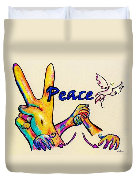 SIGNS OF PEACE Duvet Cover by Eloise Schneider
