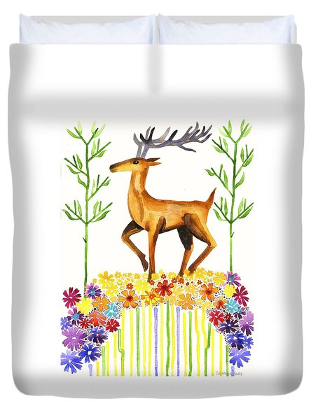 Signs Of Spring Duvet Cover by Cat Athena Louise