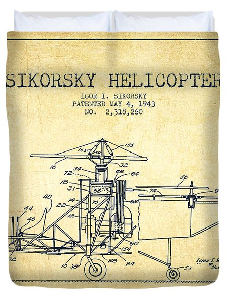 Sikorsky Helicopter Patent Drawing From 1943-vintage Duvet Cover by Aged Pixel