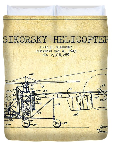 Sikorsky Helicopter Patent Drawing From 1943-vintgae Duvet Cover by Aged Pixel