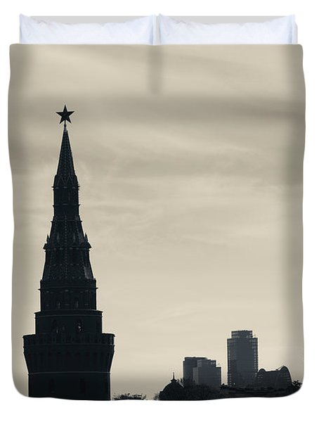 Silhouette Of Kremlin Towers, Moscow Duvet Cover by Panoramic Images