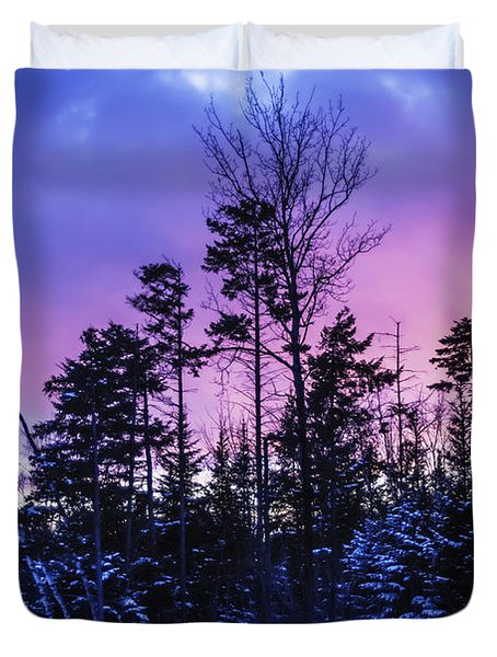 Silhouette Of Trees During A Colourful Duvet Cover by Jacques Laurent