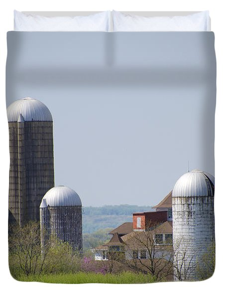 Silos - Norristown Farm Park Duvet Cover by Bill Cannon
