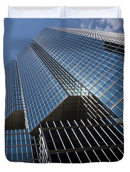 Silver Lines to the Sky - Downtown Toronto Skyscraper Duvet Cover by Georgia Mizuleva