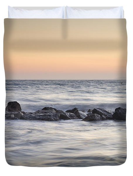 Silver Sea At Sunset Duvet Cover by Guido Montanes Castillo