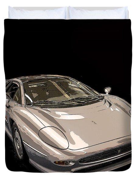 Silver Sports Car Duvet Cover by Edward Fielding