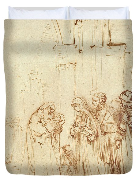 Simeon And Jesus In The Temple Duvet Cover by Rembrandt Harmenszoon van Rijn