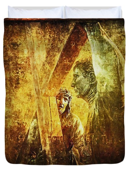 Simon Helps Jesus Via Dolorosa 5 Duvet Cover by Lianne Schneider