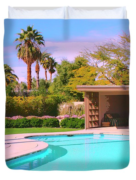 Sinatra Pool Cabana Palm Springs Duvet Cover by William Dey
