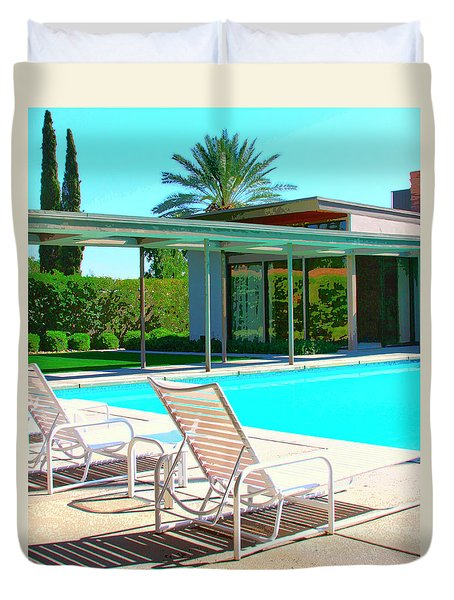 SINATRA POOL Palm Springs Duvet Cover by William Dey