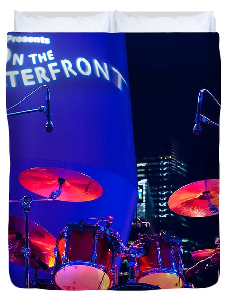 Singapore Drum Set 01 Duvet Cover by Rick Piper Photography
