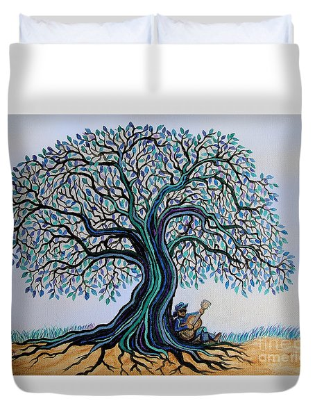 Singing Under The Blues Tree Duvet Cover by Nick Gustafson