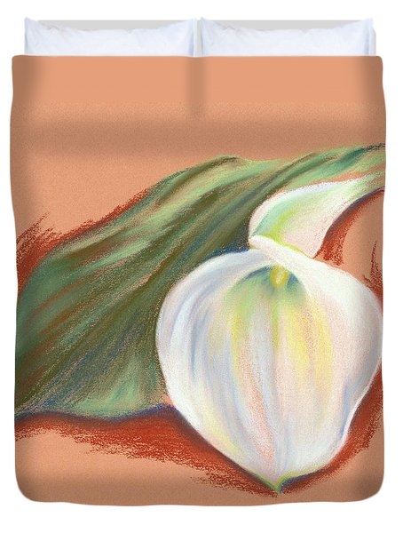 Single Calla Lily And Leaf Duvet Cover by MM Anderson