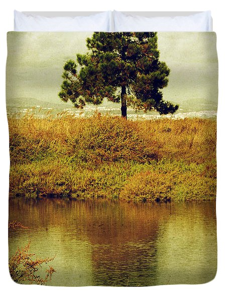 Single pine tree Duvet Cover by Carlos Caetano