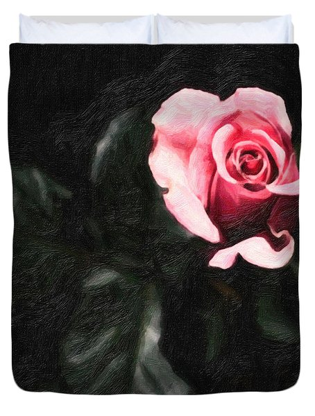 Single Pink Rose Duvet Cover by MotionAge Designs