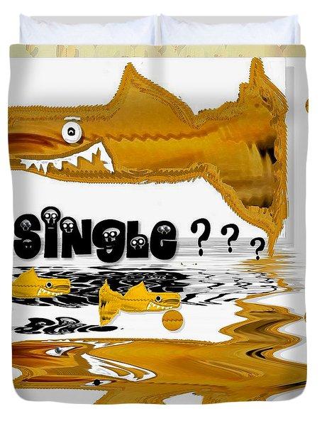 single shark pop art Duvet Cover by Pepita Selles