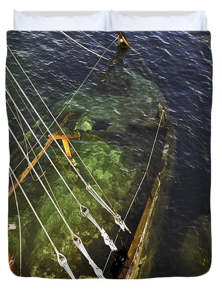 Sinking Sailboat Duvet Cover by Sally Weigand