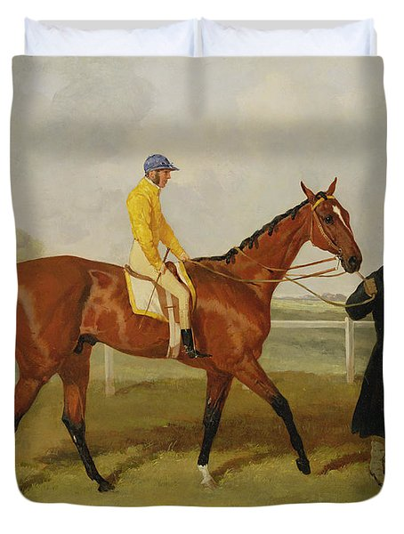 Sir Tatton Sykes Leading In The Horse Sir Tatton Sykes With William Scott Up Duvet Cover by Harry Hall