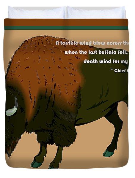 Sitting Bull Buffalo Duvet Cover by Digital Creation